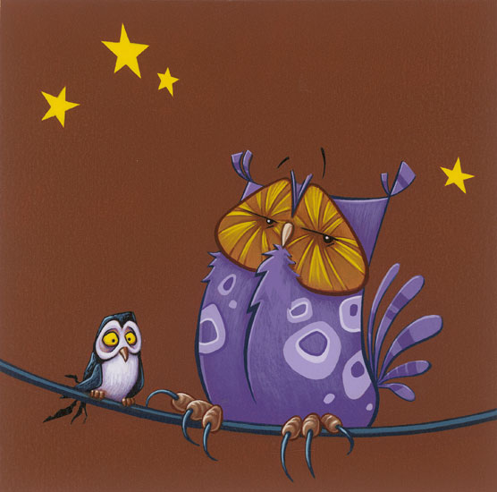 Painting of two small owls in a vintage, retro cartoon style